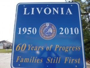 Livonia Michigan City Sign